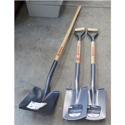 Qty 2 Corona Closed Back Nursery Shovels & Corona Square Point Shovel