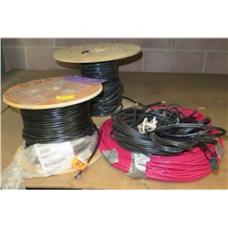 Qty 2 Wood Spools 180030 Black Cable & Misc Low Energy Circuit Cable