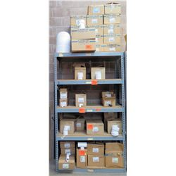 Metal-Framed Shelving (2ft x 4ft x 7ft) & Contents: LASCO Fittings PVC Socket Tees, Adapters, Poly E