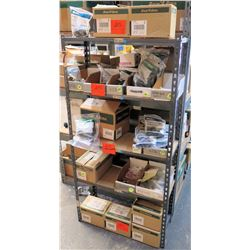 "Metal-Framed Shelving Unit (12""x30""x5ft) & Contents: Rain Bird U12H Nozzles, PGA Valves, Hunter Spra"