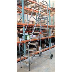 Rolling Warehouse Ladder Stairs w/ 9 Perforated Steps