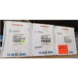 Qty 3 Boxes Flo Yellow Marking Paint 202 Level 1 Aerosols