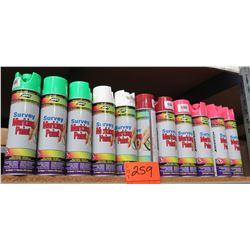 Qty 11 Aerosol Spray Cans Survey Marking Paint Green/White/Red/Pink