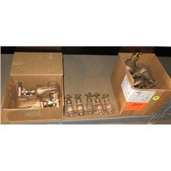 Multiple Misc Size Buckner Brass Angle Valves 022002 & Large Gate Valves