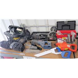 Multiple Misc Tools:  Tape Measure, Crescent Wrench, Pliers, Wrenches, Ryobi Saw, etc