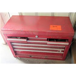 Red Metal Rolling Toolbox w/ Misc Hand Tools & Accessories