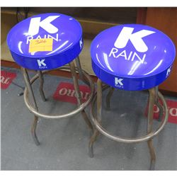 Qty 2 K-Rain Metal Shop Stools w/ Purple Vinyl Seats
