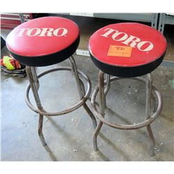 Qty 2 TORO Metal Shop Stools w/ Red Vinyl Seats