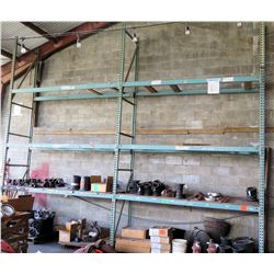 Pallet Racking System (Contents Not Included) - 12 Beams, 3 Uprights. Buyer Responsible for Disassem
