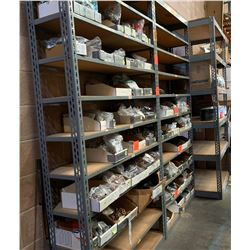 Qty 3 Metal-Framed Industrial Shelving Units, (Contents Not Included) two are 1ft X 4ft X 8ft H and