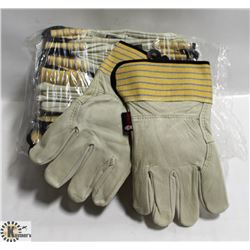 12 PAIRS OF LEATHER WORK GLOVES
