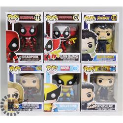 LOT OF 6 ASSORTED FUNKO POP VINYL FIGURES.
