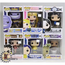 LOT OF 6 ASSORTED FUNKO POP FIGURES.