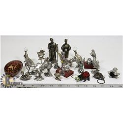 BOX OF ASSORTED PEWTER & CRYSTAL ORNAMENTS