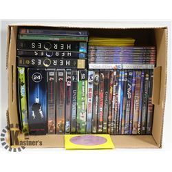 BOX OF ABOUT 100 DVDS INCL HEROES SEASON SETS 1-3,