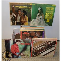 BOX OF LPS INCL BEATLES, TOM JONES, STREISAND,