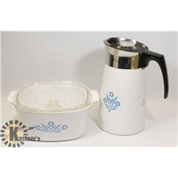 CORNING WARE 3L AND NEW CORNING WARE PERCOLATOR