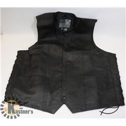 SIZE XL (48) BLACK LEATHER VEST