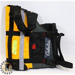 NEW SIZE MEDIUM CABELA'S DOG LIFE JACKET.