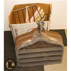 BOX OF FELTED PANT HANGERS & LINGERIE HANGERS