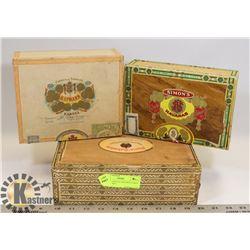 LOT OF 3 VINTAGE WOODEN CUBAN CIGAR BOXES.