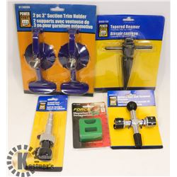 FLAT OF TOOLS INCLUDING BATTERY POST CLEANER, AND