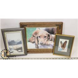FLAT OF ASSORTED PICTURES IN FRAMES