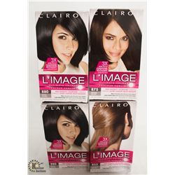 4 BOXES OF CLAIROL L'IMAGE HAIR COLOR ASSORTED COLORS.