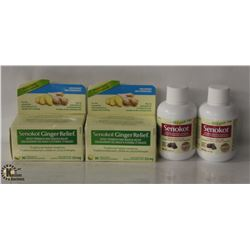 2 BOTTLES OF SENOKOTS LAXATIVE & 2 BOXES OF SENOKOT GINGER RELIEF