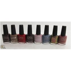 8 BOTTLES OF CND VINYLUX NAIL POLISH 15ML PER BOTTLE