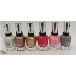 6 BOTTLES OF ASSORTED COLOR SALLY HANSEN COMPLETE SALON MANICURE NAIL POLISH. 14.7ML PER BOTTLE