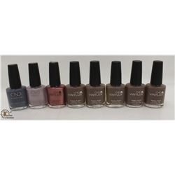 8 BOTTLES OF ASSORTED COLOR CND VINYLUX WEEKLY NAIL POLISH