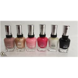 6 BOTTLES OF SALLY HANSEN COMPLETE SALON MANICURE POLISH. 14.7ML PER BOTTLE