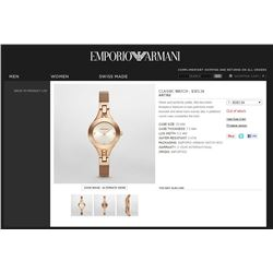 NEW EMPORIO ARMANI ROSE GOLD WATCH MSRP $383