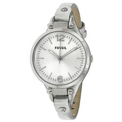 NEW FOSSIL GEORGIA WHITE DIAL/SILVER LEATHER STRAP