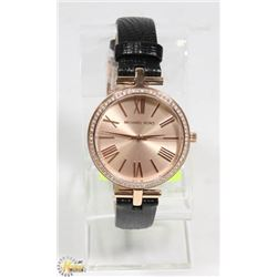 NEW MICHAEL KORS ROSE GOLD LEATHER STRAP WATCH