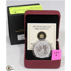 2011 $10 MAPLE LEAF FOREVER .9999 FINE SILVER COIN