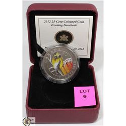 2012 EVENING GROSBEAK COLOURED 25 CENT COIN