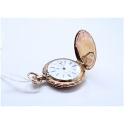 VINTAGE SETH THOMAS GOLD PLATE HUNTER POCKET WATCH