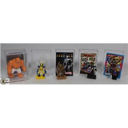 LOT OF 5 MINI FIGURES & COLLECTIBLES.