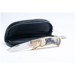 FRANKLIN MINT BLACK BEAR COLLECTOR KNIFE WITH CASE