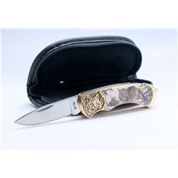 FRANKLIN MINT LYNX COLLECTOR KNIFE WITH CASE.