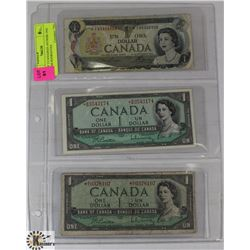 LOT OF 3 ASST YEAR CANADIAN ASTERISK ONE DOLLAR