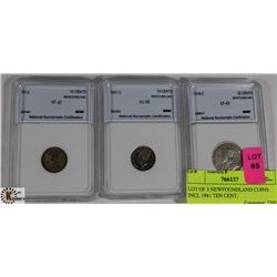 LOT OF 3 NEWFOUNDLAND COINS INCL 1941 TEN CENT,