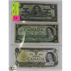 LOT OF 3 CANADIAN ONE DOLLAR BANK NOTES - 1937,