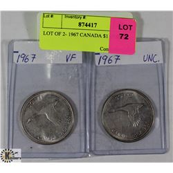 LOT OF 2- 1967 CANADIAN $1 COINS
