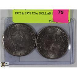 1972 & 1976 USA DOLLAR COINS