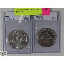 LOT OF 2 CANADIAN SILVER DOLLARS 1959, 1955