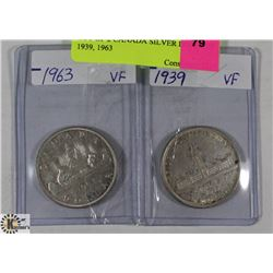 LOT OF 2 CANADIAN SILVER DOLLARS 1939, 1963