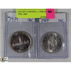 LOT OF 2 CANADIAN SILVER DOLLARS 1939, 1964